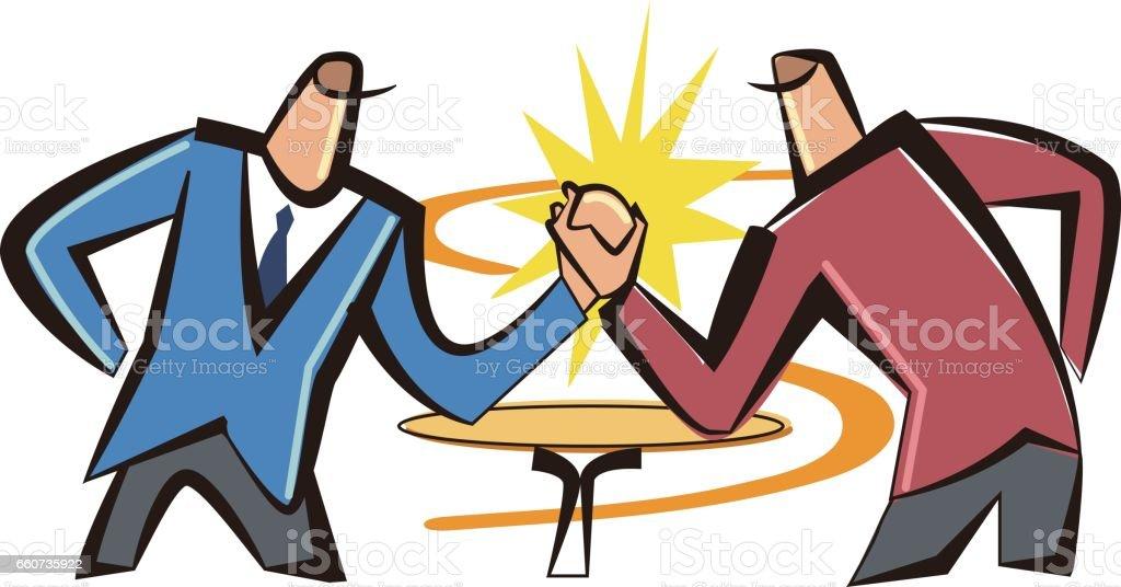 Arm wrestling men vector art illustration