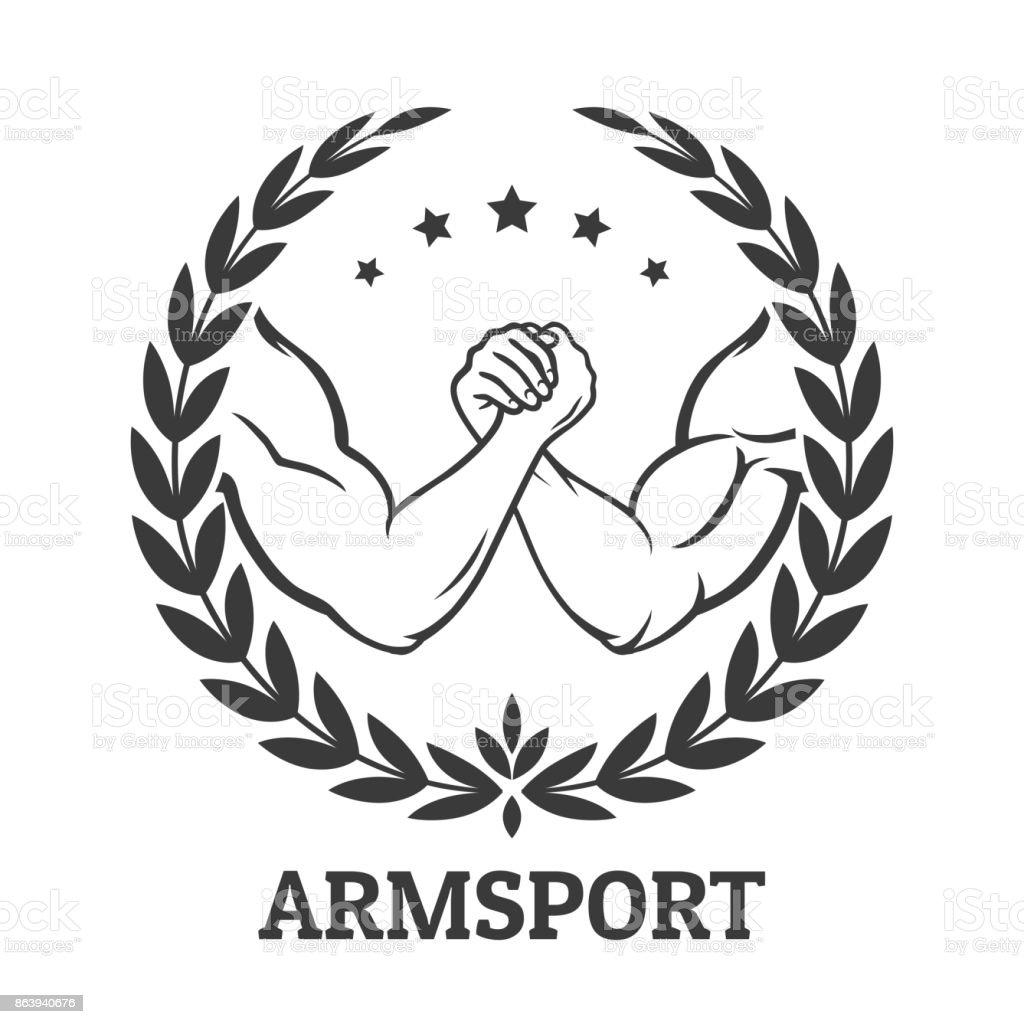 Arm wrestling vector art illustration