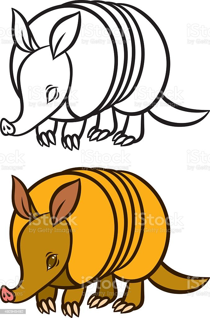 royalty free cartoon happy armadillo clip art vector images rh istockphoto com armadillo clipart black and white texas armadillo clipart