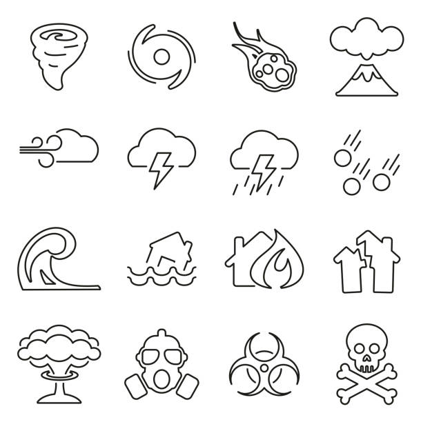 Armageddon or Disaster Icons Thin Line Vector Illustration Set This image is a vector illustration and can be scaled to any size without loss of resolution. crisis stock illustrations