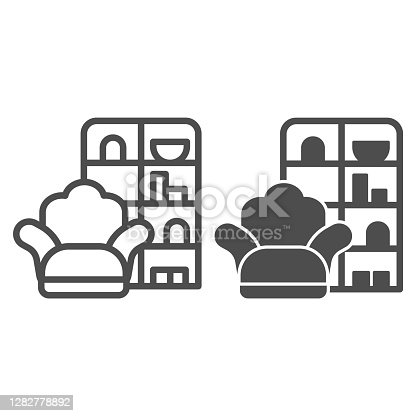 Armchair and wardrobe line and solid icon, Furniture concept, living room interior sign on white background, Sofa and book cabinet icon in outline style for mobile and web design. Vector graphics
