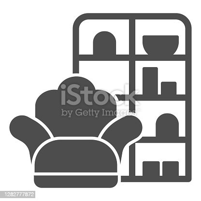 Armchair and wardrobe solid icon, Furniture concept, living room interior sign on white background, Sofa and book cabinet icon in glyph style for mobile and web design. Vector graphics