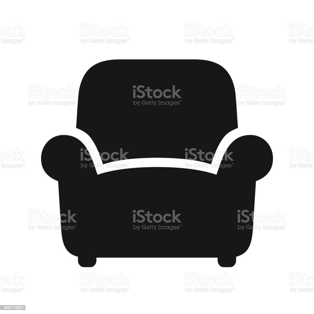 Fauteuil zwart pictogram - Royalty-free Abstract vectorkunst