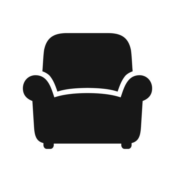 Armchair black icon Armchair simple black icon, vector illustration isolated on white background armchair stock illustrations
