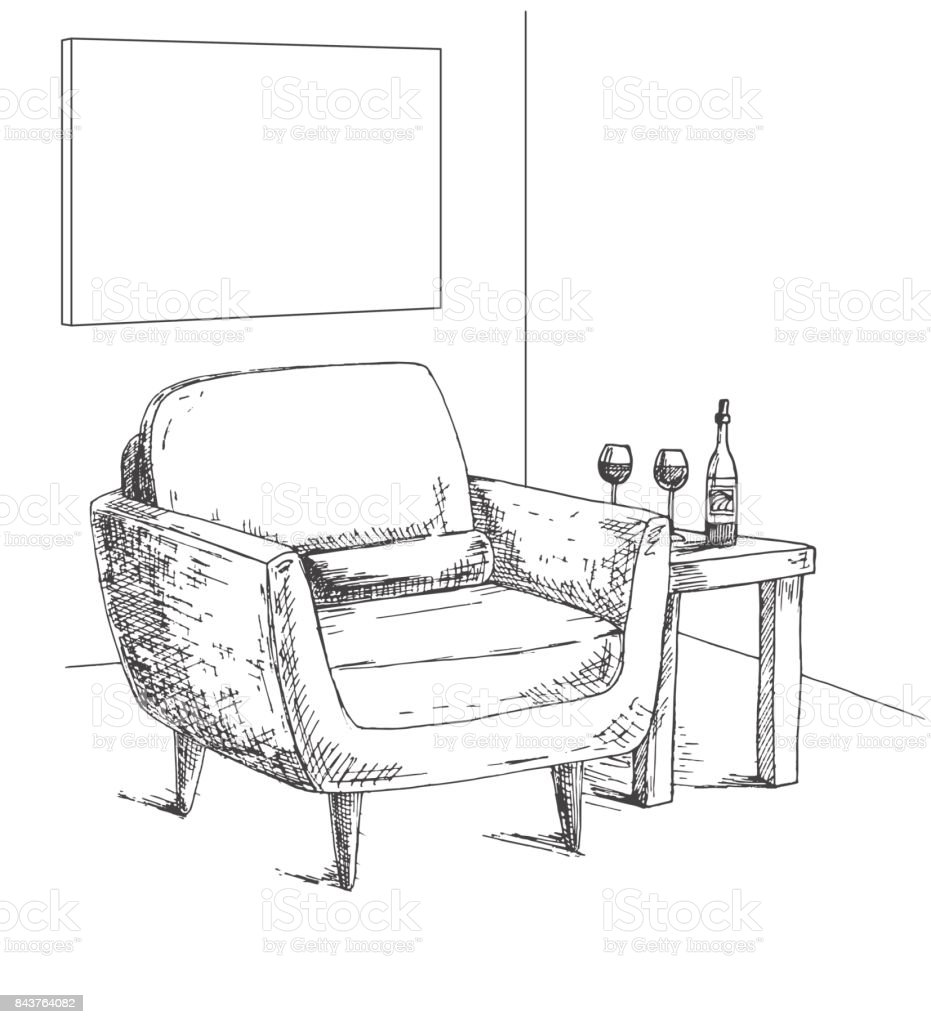 Ilustración de Sillón Mesa De Centro Con Cristal Y Botella Marco En ...