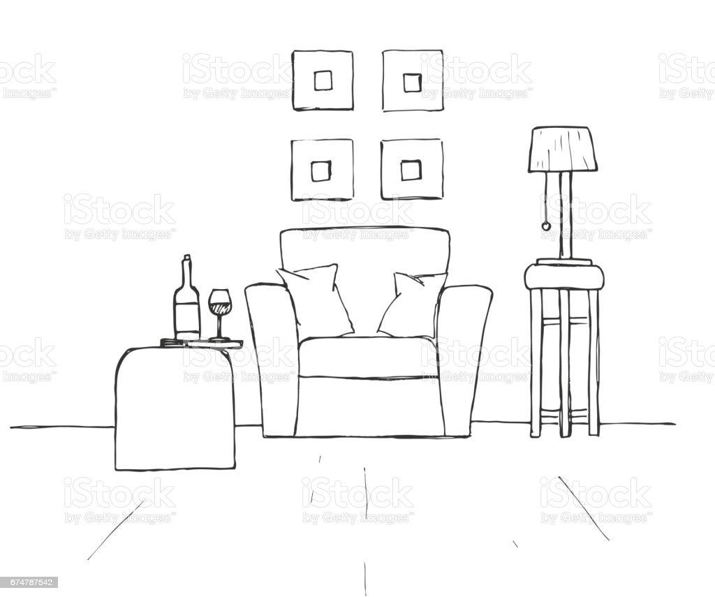 Sessel Couchtisch Mit Glas Und Flasche Lampe Auf Einem Hohen Hocker