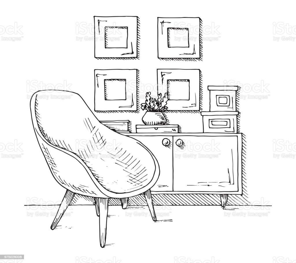 Sessel Schrank Mit Einer Vase Handgezeichnete Vektorillustration