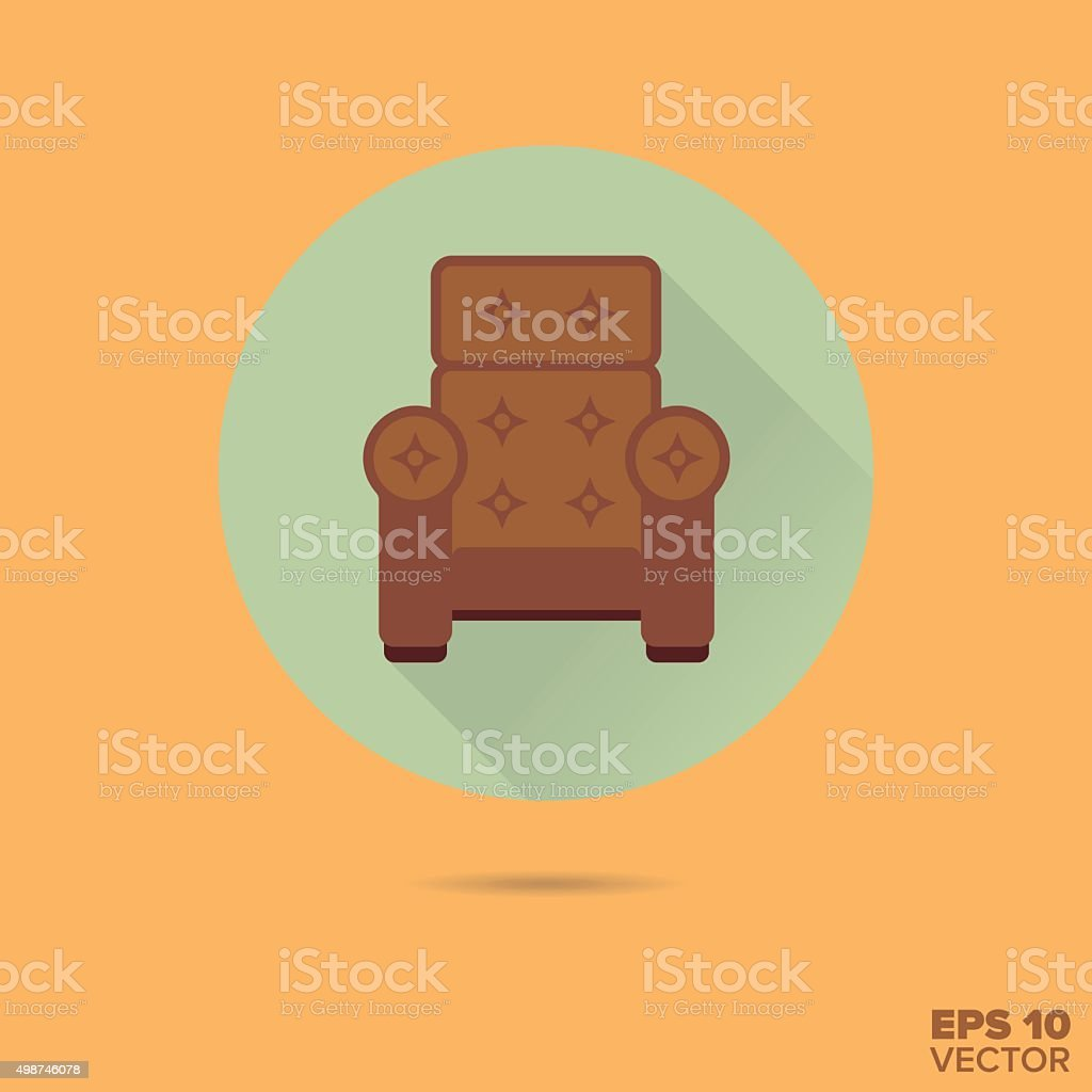 Armchair Flat Design Vector Icon Stock Vector Art & More Images of ...