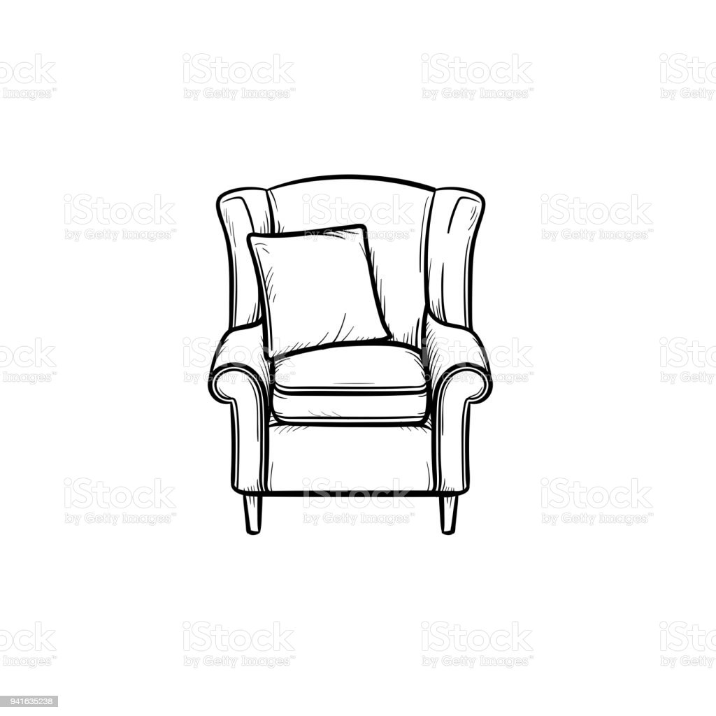 Armchair hand drawn sketch icon vector art illustration