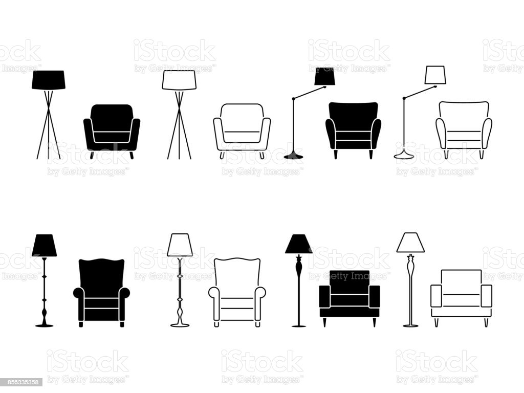 Armchair icon set. Illustration of lounge pictogram on white vector art illustration