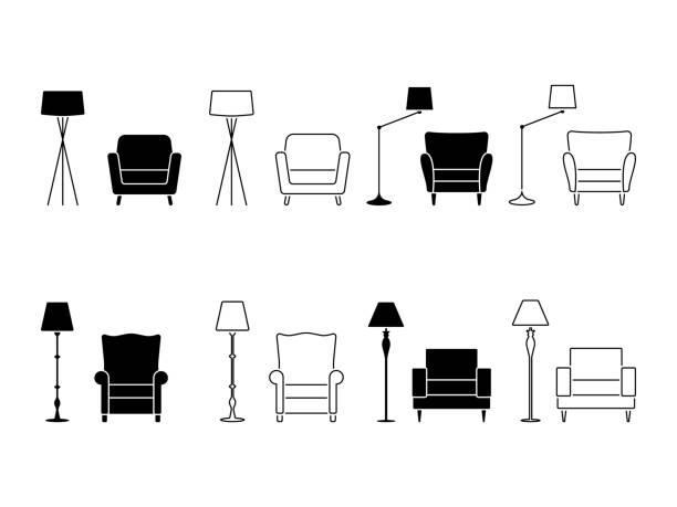 illustrazioni stock, clip art, cartoni animati e icone di tendenza di armchair icon set. illustration of lounge pictogram on white - mobilio