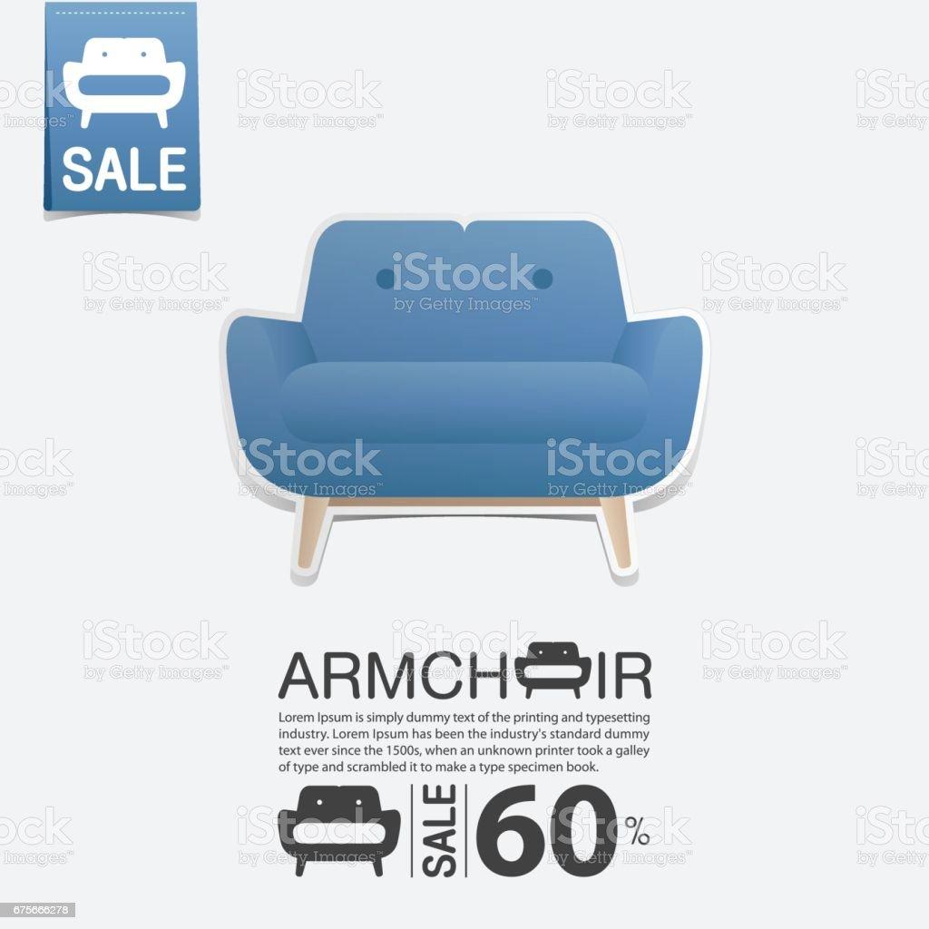 Sessel Im Flat Design Für Wohnzimmer Interieur. Minimale Symbol Für Möbel  Verkaufsposter. Vektor Lizenzfreies