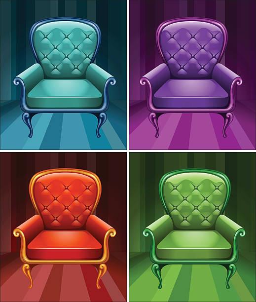 sessel in vier farben - stuhllehnen stock-grafiken, -clipart, -cartoons und -symbole