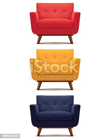 Armchair isolated on white. Set. Vector 3d illustration