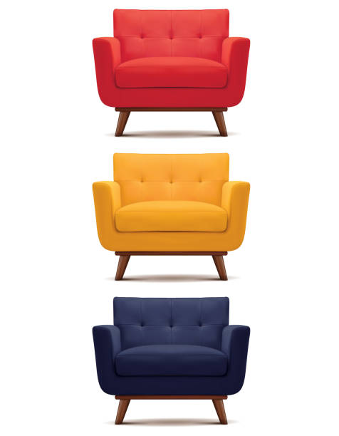 ilustrações de stock, clip art, desenhos animados e ícones de armchair isolated on white. set. vector 3d illustration - chair