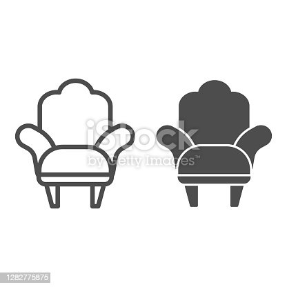 Armchair line and solid icon, Furniture concept, comfortable chair sign on white background, Armchair with legs icon in outline style for mobile concept and web design. Vector graphics