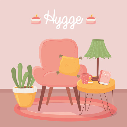 armchair tabe with lamp coffee cup and plant, cartoon hygge style