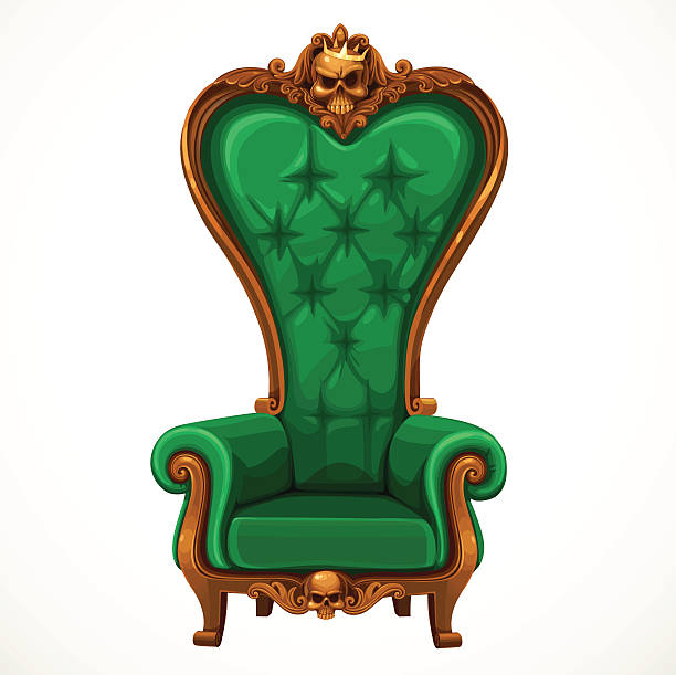 armchair upholstered in green and high-backed baroque - stuhllehnen stock-grafiken, -clipart, -cartoons und -symbole