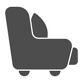 Armchair with a pillow solid icon, Furniture concept, sofa furniture sign on white background, cushion on armchair icon in glyph style for mobile concept and web design. Vector graphics