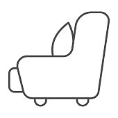 Armchair with a pillow thin line icon, Furniture concept, sofa furniture sign on white background, cushion on armchair icon in outline style for mobile concept and web design. Vector graphics