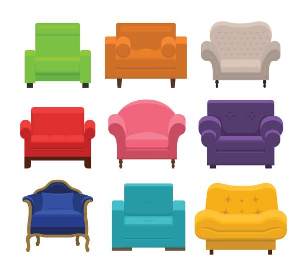 Armchairs collection in flat style. Set of different armchairs. Collection types seating in flat style. Beautiful design elements - classic, retro or modern furniture. Colorful vintage and comfort chair. Isolated vector illustration armchair stock illustrations