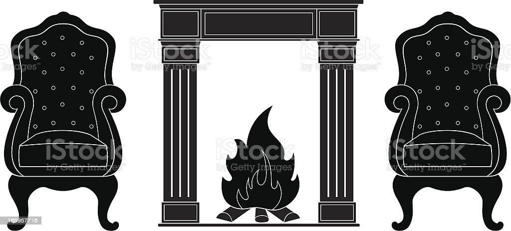 Armchairs with Fireplace vector art illustration