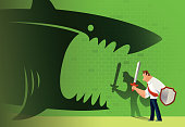 vector illustration of armed businessman defending angry shark attacking