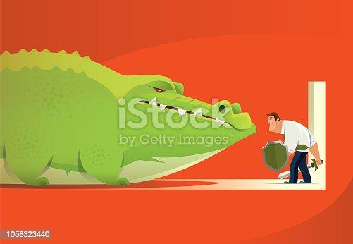 vector illustration of armed businessman defending crocodile