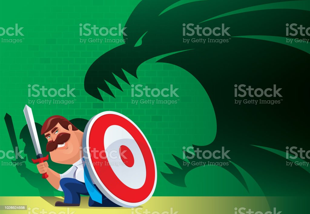 armed businessman defending monster shadow stock vector art more