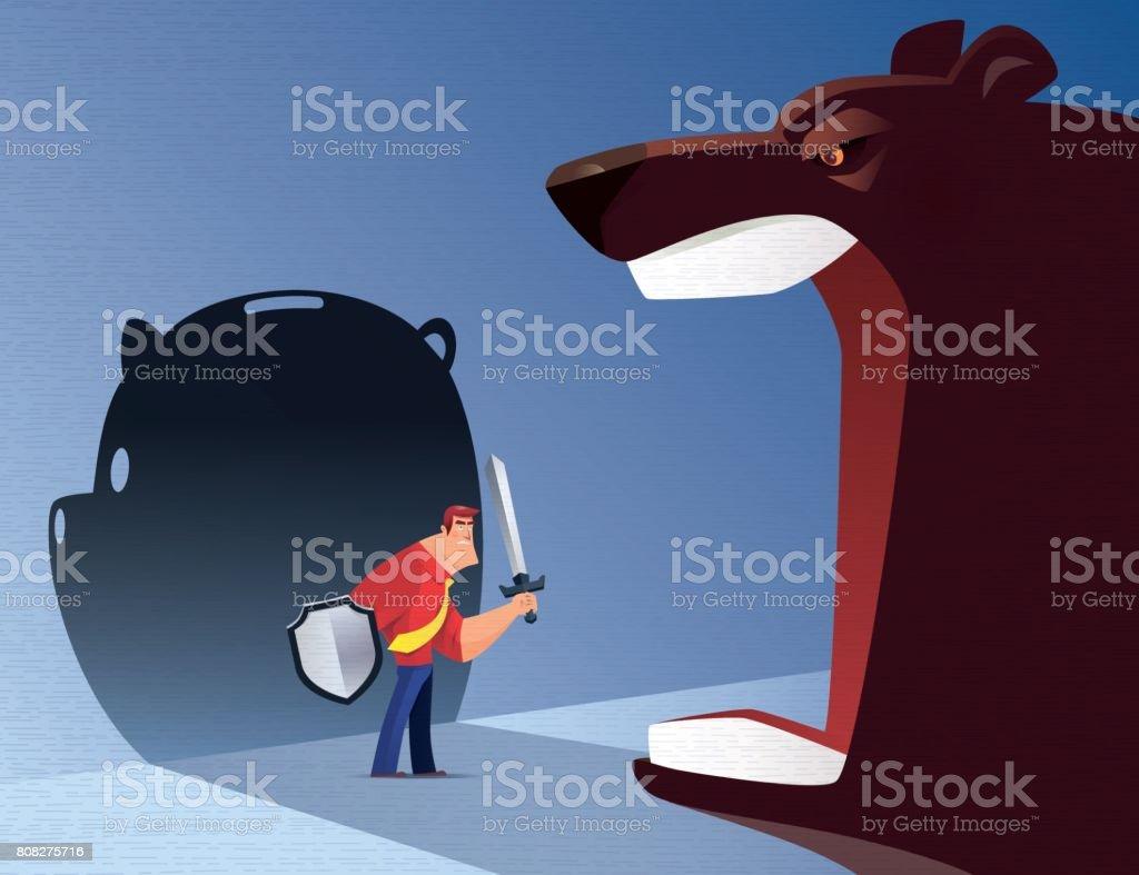 armed businessman defending roaring bear vector art illustration