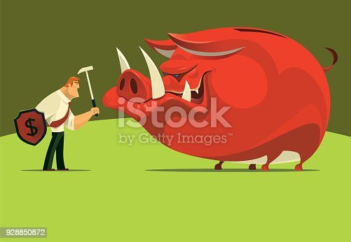istock armed businessman with evil piggy bank 928850872