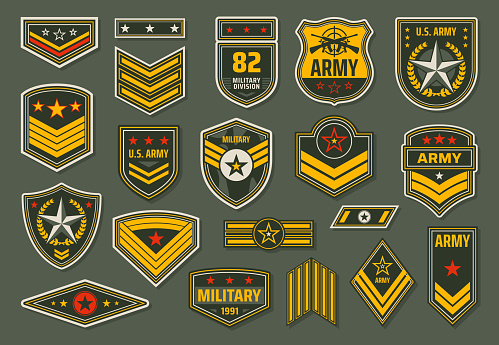 USA armed forces badges, military ranks insignia