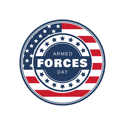 Armed Forces Day badge isolated on white background. Vector