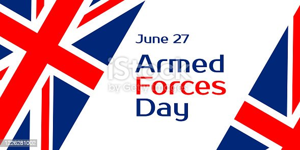 Armed forces day. It is celebrated in the UK on June 27. Vector banner, poster for social media. Horizontal composition and text. Flag of Britain