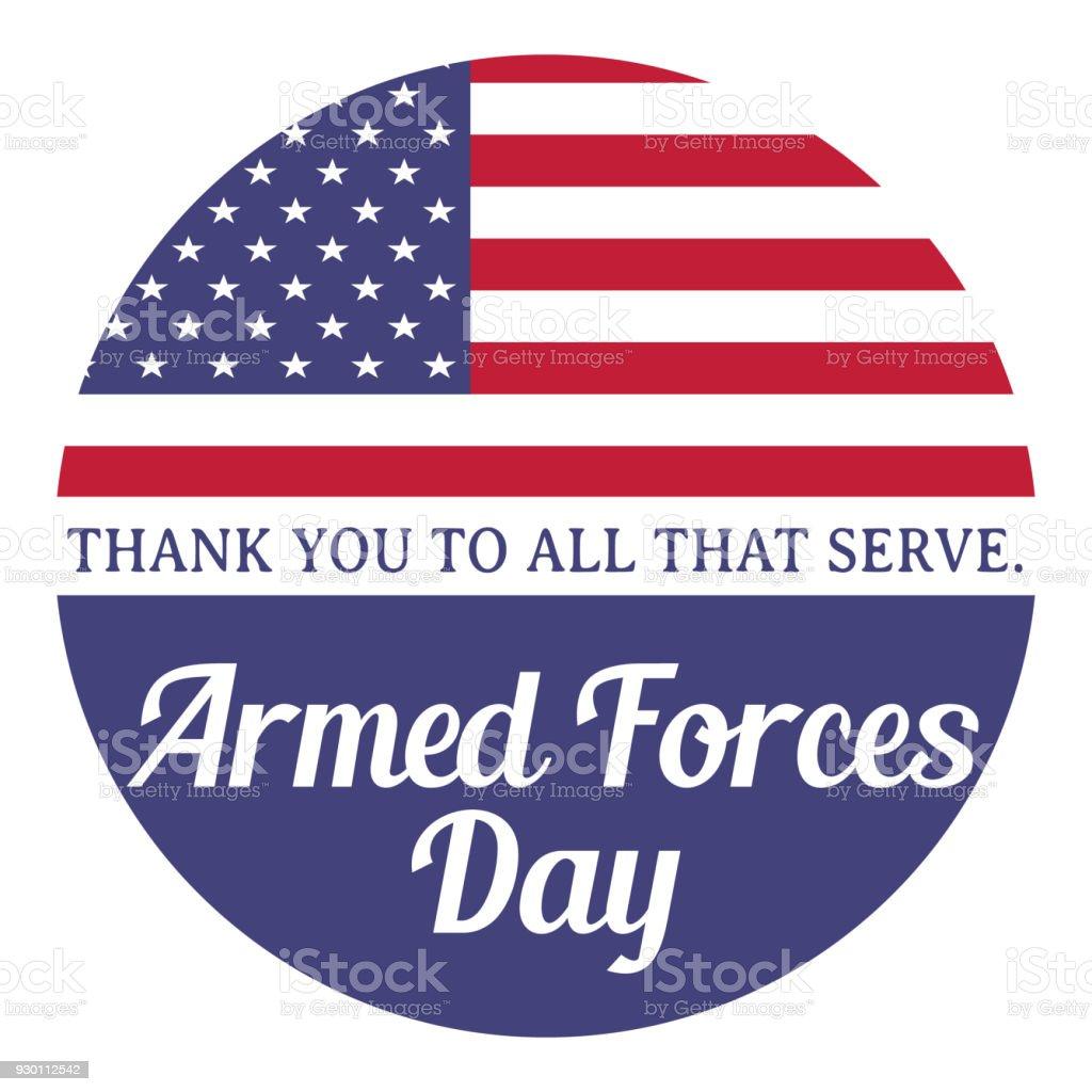Armed forces day. Thank you to all that serve. Vector illustration with american flag. - Grafika wektorowa royalty-free (Amerykańska flaga)