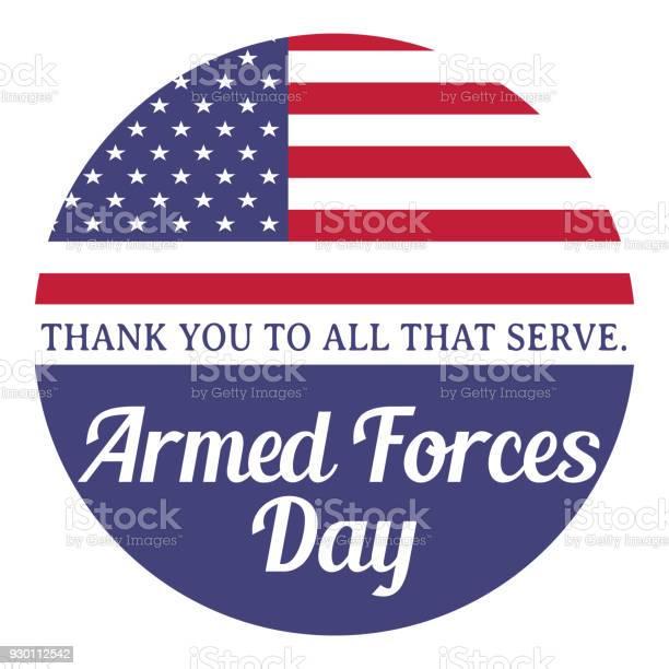 Armed Forces Day Thank You To All That Serve Vector Illustration With American Flag - Stockowe grafiki wektorowe i więcej obrazów Amerykańska flaga