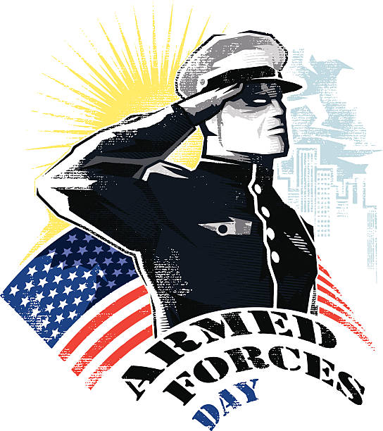 Armed Forces Day Proud, young and tough-looks army/navy/air force officer pays tribute to the u.s. flag that waves behind him as he salutes it by raising his right hand up against his forehead. saluting stock illustrations