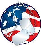 Armed Forces - Dog Tags and American Flag Graphic