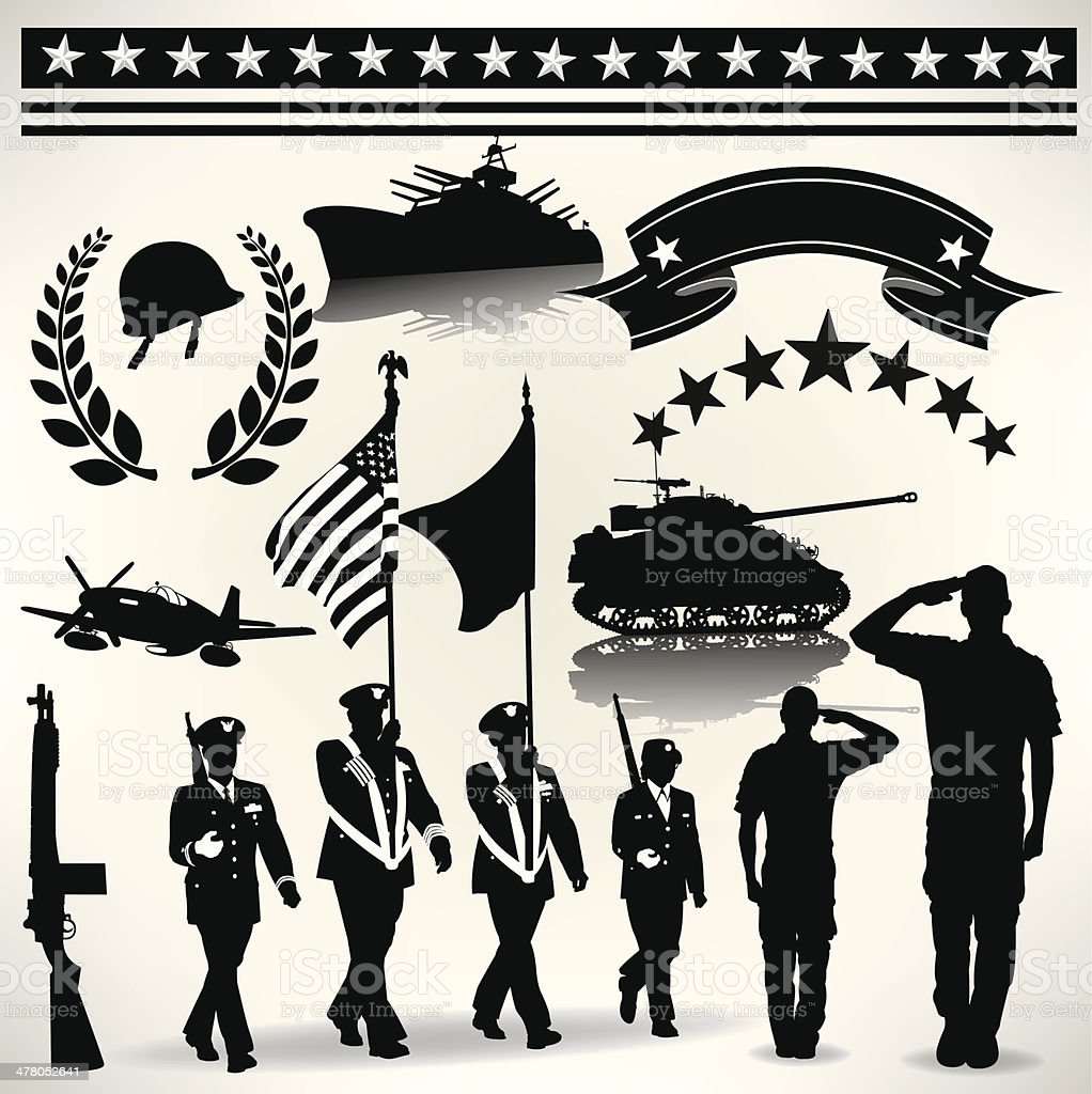 US Armed Forces, Military Parade, Salute, Army, Navy, Air Force vector art illustration