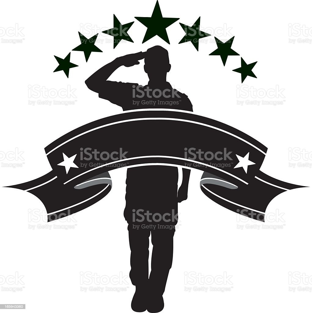 Armed Forces Salute, Military Soldier or Boy Scout Banner vector art illustration