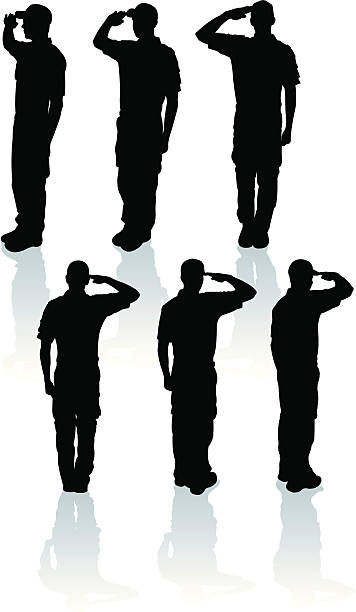 Armed Forces Salute - Military Soldier or Boy Scout Armed Forces Salute. Graphic style silhouette illustrations of a young military cadet soldier or boy scout saluting. Compound paths. Use as positive or negative. Color changes a click. Check out my
