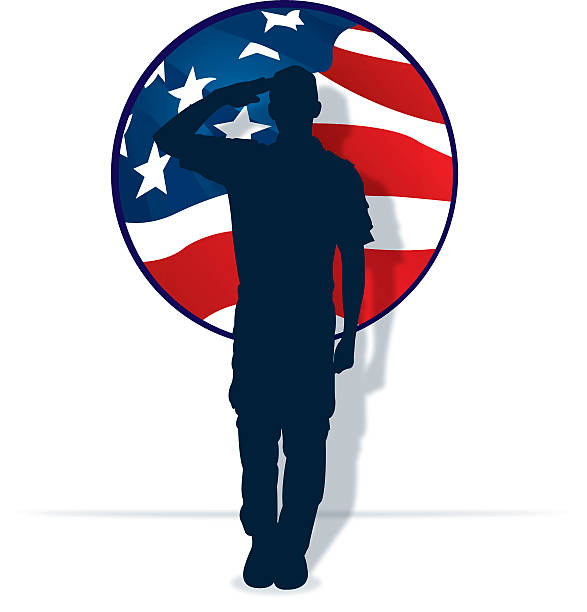 Armed Forces Salute - Military Soldier or Boy Scout Graphic silhouette background illustration of a Military Soldier or Boy Scout saluting and the American flag. Check out my