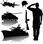 "Graphic silhouette illustrations of a US Military. Soldier, Air Force, Army, Navy. Check out my ""World War Two"" light box for more."