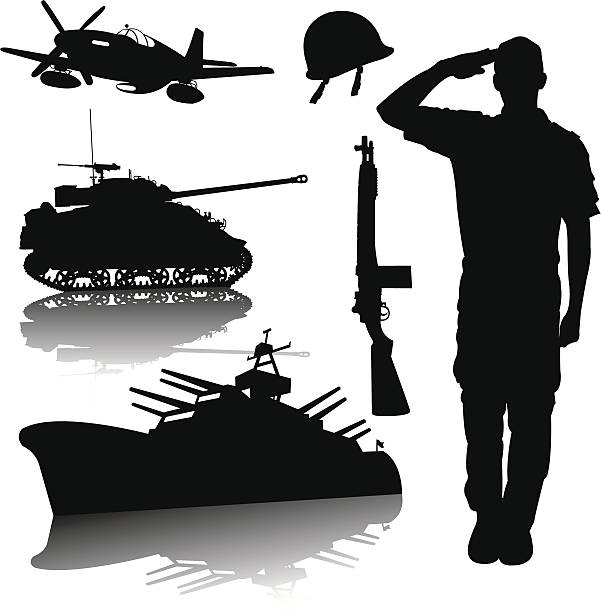 US Armed Forces - World War Two vector art illustration