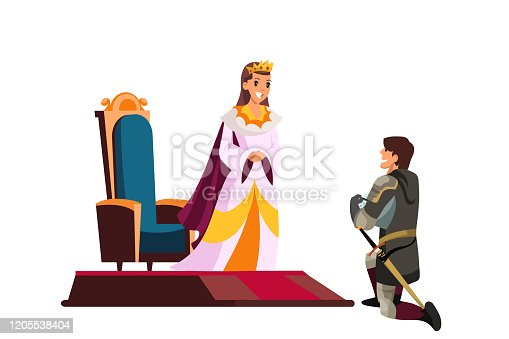 Armed knight kneeling before queen or princess. Knighting ceremony. Honoring warriors. Love and romantic scene. Cartoon male and female character. Vector illustration