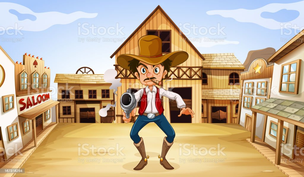 Armed man near the saloon royalty-free stock vector art