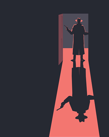 Armed man standing in a doorway. Silhouette. Retro style illustration.
