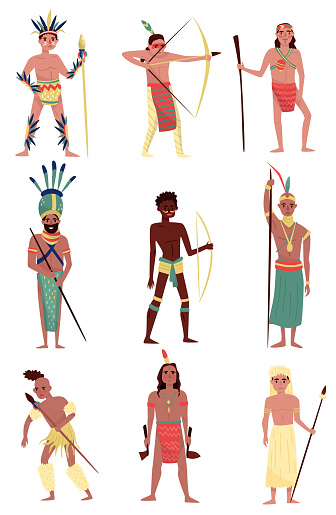 Armed native people set, American Indian, African tribe member, Australian Aboriginal characters vector Illustrations on a white background