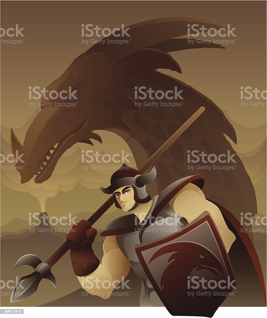 Armed warrior in front of dragon - Royalty-free Adult stock vector