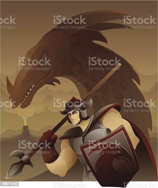 Armed Warrior In Front Of Dragon-vektorgrafik och fler bilder på Benskena